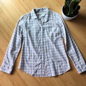 J Cree grey white plaid button down shirt